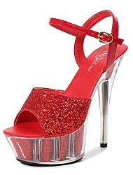 cheap -Women's Dance Shoes Pole Dancing Shoes Heel Slim High Heel Black Red Silver Buckle