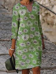 cheap -Women's Shift Dress Knee Length Dress Purple Blushing Pink Green Light Blue 3/4 Length Sleeve Floral Print Summer V Neck Hot Casual Mumu Holiday Loose 2021 S M L XL XXL 3XL 4XL 5XL