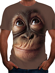 cheap -Men's Tees T shirt 3D Print Graphic Orangutan Animal Print Short Sleeve Party Tops Chic & Modern Funny Comfortable Big and Tall Black Blushing Pink Brown