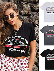 cheap -Women's Tee / T-shirt Artistic Style Crew Neck Cartoon Cute Letter Printed Sport Athleisure T Shirt Short Sleeves Breathable Soft Comfortable Everyday Use Exercising General Use