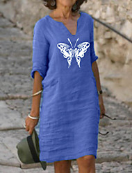 cheap -Women's Shift Dress Knee Length Dress Half Sleeve Butterfly Animal Clothing Summer Hot Casual 2021 Red Yellow Light Green Light Blue S M L XL XXL 3XL 4XL 5XL