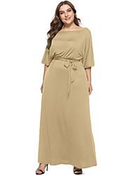 cheap -Women's Swing Dress Maxi long Dress - Half Sleeve Solid Color Summer Fall Casual Elegant Loose 2020 White Black Red Army Green Khaki Royal Blue Navy Blue M L XL XXL 3XL 4XL