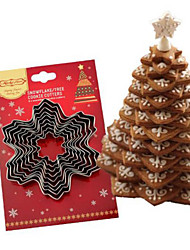 cheap -5/9pcs Christmas Cookie Cutter Tools Aluminium Alloy Snowflake Shaped Holiday Biscuit Mold Kitchen Cake Decorating Tool
