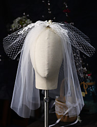 cheap -One-tier Lace / Sweet Wedding Veil Shoulder Veils with Faux Pearl Tulle