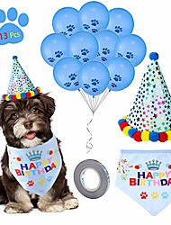 cheap -dog birthday party set -dog birthday bandana scarf, cute doggie birthday party hat, 10 paw print balloons and a roll of 400-inch silver ribbon-great birthday party supplies for dogs, pets