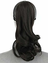 "cheap -16"" clip in ponytail hair extensions women wavy curly hair pieces with a jaw/claw clip (4# dark brwon)"