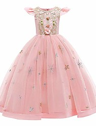 cheap -flower girls vintage lace embroidery dress bridesmaid wedding pageant communion princess party evening long ball gown pink 2-3 years