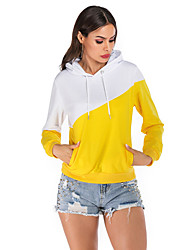 cheap -Women's Pullover Hoodie Sweatshirt Color Block Basic Hoodies Sweatshirts  Yellow