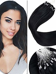 cheap -Micro Ring Hair Extensions Hair Extensions Remy Human Hair Micro Loop Hair Extensions 50 pcs 50 g Pack Straight Black 16-24 inch Hair Extensions