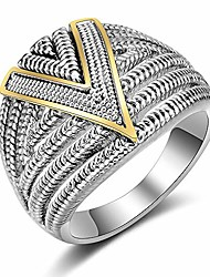 cheap -silver 2 tone wide statement rings vintage cable wire crossover chunky band rings for women men (silver and gold, 10)