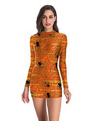 povoljno -Žene Haljina A-kroja Mini haljina - Dugih rukava Print Print Jesen Sexy Dnevno 2020 žuta S M L XL XXL