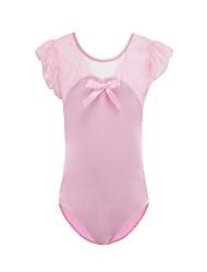 cheap -Rhythmic Gymnastics Leotards Gymnastics Suits Girls' Kids Dancewear Spandex Stretchy Breathable Short Sleeve Training Dance Athletic Artistic Gymnastics Blushing Pink White Black