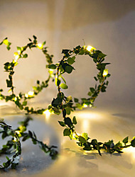 cheap -5M 50LEDs Green Leaves Garland LED String Lights 2pcs 1pc Battery Operated Fairy Lights for Wedding Christmas Banquet Garden Holiday Indoor Decoration