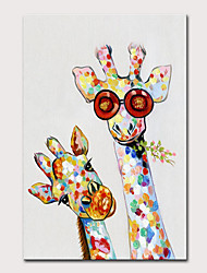 cheap -Mintura Large Size Hand Painted Abstract Giraffe Animals Oil Painting on Canvas Pop Art Modern Wall Pictures For Home Decoration No Framed Rolled Without Frame