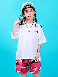 cheap -Hip-Hop Top Pattern / Print Gore Girls' Training Performance 3/4 Length Sleeve High Cotton Polyester