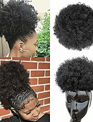 cheap -afro puff drawstring ponytail synthetic large afro kinkys curly afro bun extension hairpieces updo hair extensions with four clips & # 40; # 1b& #41;
