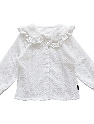 povoljno -Djeca Djevojčice Osnovni Bijela Jednobojni Čipka Trim Dugih rukava Iznad koljena Haljina Obala