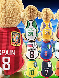 cheap -Dog Shirt / T-Shirt Jersey Vest Football T-Shirt National Team Sports & Outdoors National Soccer World Cup Dog Clothes Puppy Clothes Dog Outfits Breathable White / Red Red / Blue Red+Black Costume