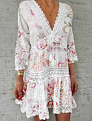 cheap -Women's Shirt Dress Short Mini Dress - 3/4 Length Sleeve Floral Lace Print Summer V Neck Casual Hot vacation dresses 2020 White S M L XL XXL 3XL 4XL