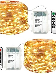cheap -LED String Lights 5M 16.4ft 50 LEDs 2 Sets Waterproof 8 Modes Remote Control Timer Twinkle IP65 Dimmable Christmas Garden Party Indoor Décor