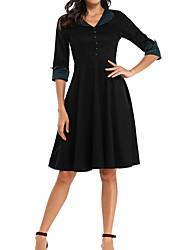 cheap -Women's A-Line Dress Knee Length Dress - Half Sleeve Solid Color Spring Summer V Neck Formal Party Slim 2020 Black S M L XL XXL