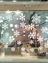 cheap -Christmas Snowflake Wall Stickers Decorative Wall Stickers, PVC Home Decoration Wall Decal Wall Decoration Glass Window Decoration / Removable 50*35cm