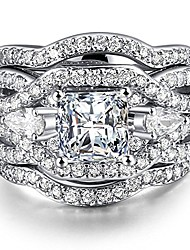 cheap -3 piece s925 silver engagement rings set princess cut synthetic diamond halo infinity wedding bridal ring band for women size 9.5