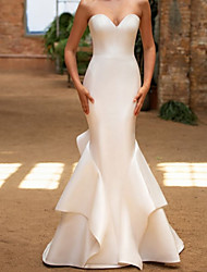 cheap -Mermaid / Trumpet Wedding Dresses Sweetheart Neckline Sweep / Brush Train Satin Sleeveless Vintage with Cascading Ruffles 2020