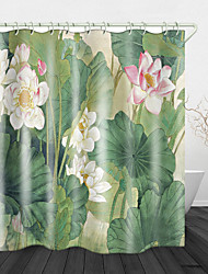 cheap -Blooming Beautiful Lotus Digital Print Waterproof Fabric Shower Curtain for Bathroom Home Decor Covered Bathtub Curtains Liner Includes with Hooks