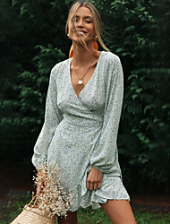 cheap -Women's Wrap Dress Short Mini Dress Light Green Long Sleeve Polka Dot Ruffle Print Fall V Neck Hot Casual 2021 S M L XL