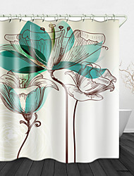cheap -Creative Line Flowers Digital Print Waterproof Fabric Shower Curtain For Bathroom Home Decor Covered Bathtub Curtains Liner Includes With Hooks