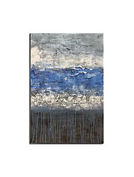 cheap -100% Hand painted Abstract Blue Canvas Painting Abstract Wall Picture for Living Room Big Wall Art Decor Grey Green Poster Rolled Without Frame