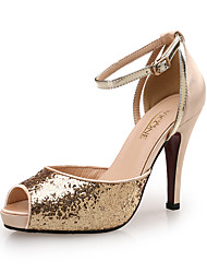cheap -Women's Sandals Pumps Peep Toe Party & Evening Office & Career Satin Gleit Black / Red / Gold
