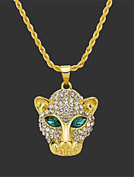cheap -Men's Pendant Necklace Long Necklace Retro Eagle Tiger Fashion Punk Rock Zircon Gold Plated Chrome Gold Silver 75 cm Necklace Jewelry For Christmas Party Evening Street Festival