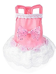 cheap -dresses for dogs,dog cat bow tutu dress lace skirt pet puppy dog princess costume apparel clothes party pink