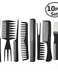 cheap -hair care comb anti static coarse fine toothed tail teasing waves pick combs set of 10,black