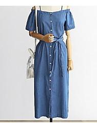 cheap -Women's Shift Dress Midi Dress - Short Sleeve Solid Color Bow Summer Casual Slim 2020 Blue XL XXL 3XL 4XL