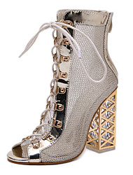 cheap -Women's Sandals Wedge Heel Peep Toe Sexy Daily Rivet Solid Colored PU Black / Gold
