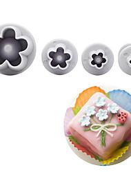 cheap -4Pcs/Set Plum Blossom Flower Plunger Fondant Cutter Sugarcraft Cake Decorating Tools