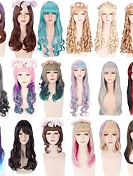 cheap -Cosplay Wig Lolita Curly Wavy Bob With 2 Ponytails Neat Bang Wig Long Medium Length A15 A16 A17 A18 A19 Synthetic Hair 10-30 inch Women's Anime Cosplay Creative Pink Brown