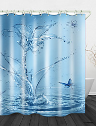 cheap -Splash Butterfly Shower Curtain With Hooks Suitable For Separate Wet And Dry Zone Divide Bathroom Shower Curtain Waterproof Oil-proof Modern Polyester New Design
