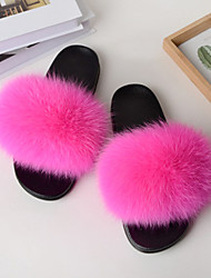 cheap -Women's Slippers & Flip-Flops Fuzzy Slippers Outdoor Slippers Flat Heel Open Toe Casual Home Faux Fur Solid Colored Dark Grey Almond White