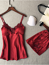 cheap -Women's Pajamas Sets Home Party Daily Lace Patchwork Jacquard Embroidered Nylon Satin Casual Soft Strap Top Shorts Spring Summer Deep V Buckle / Super Sexy