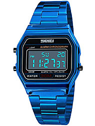 cheap -skmei unisex men's digital watch blue stainless steel led backlit electronic multifunction date alarm stopwatch square woman waterproof sport watches litbwat