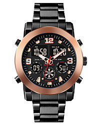 cheap -SKMEI Men's Sport Watch Digital Modern Style Stylish Outdoor Calendar / date / day Analog - Digital Black / Silver Black+Gloden Black / One Year / Stainless Steel / Chronograph / Three Time Zones