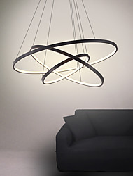 cheap -3-Light 80/60/40/20 cm LED Pendant Light Metal Acrylic Ring Circle Design Painted Finishes 90W/113W 3-Rings 4-Rings Dimmable with Remote Control
