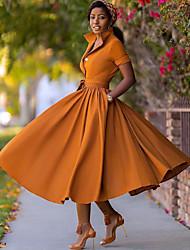cheap -Women's A Line Dress Midi Dress Army Green Orange Half Sleeve Split Fall Summer V Neck Hot Sexy 2021 S M L XL