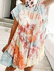 cheap -Women's Swing Dress Maxi long Dress - Short Sleeve Tie Dye Patchwork Summer Strapless Casual Slim 2020 Blushing Pink S M L XL XXL