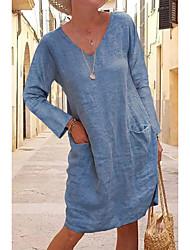 cheap -Women's T Shirt Dress Tee Dress Knee Length Dress - Long Sleeve Solid Color Pocket Summer V Neck Casual Holiday Loose 2020 Black Yellow Khaki Gray Light Blue S M L XL XXL 3XL 4XL 5XL