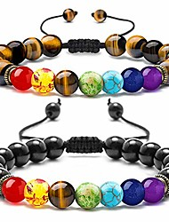 cheap -tiger eye bracelet for women - 8mm natural tigers eye stone black agate beads chakra bracelet for women, mens stress relief yoga bracelet adjustable semi-precious stone tiger eye chakra bracelet